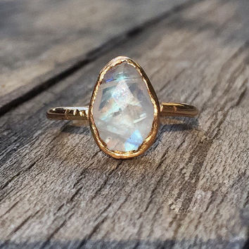 Gold Moonstone ring, Faceted Moonstone Teardrop, Gold Moonstone Engagement Ring, Rainbow Moonstone Set in Solid 14k Gold, or Gold fill, soli