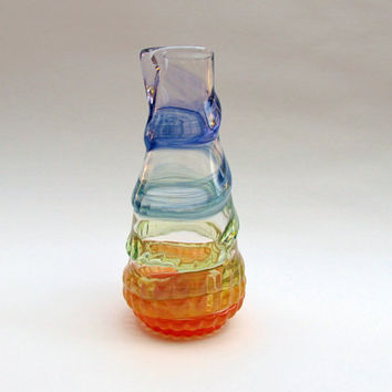Glass Vase with Rainbow Spiral, Colorful Flower Vase, Decorative Glass Decanter, Multicolored Glass Vessel