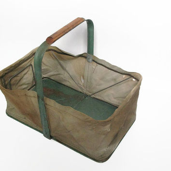 Vintage Market Basket, Folding Canvas Basket, Fold-Away Basket, Rustic Decor