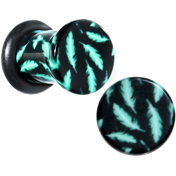2 Gauge Black Acrylic Teal Feather Single Flare Plug Set