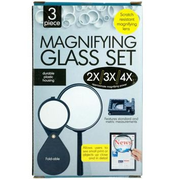 Scratch Resistant Magnifying Glass Set ( Case of 5 )