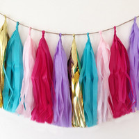 Garland tassel in hot pink, light pink, turquoise, lavender and metallic gold tissue paper tassel // birthday // wedding // baby shower