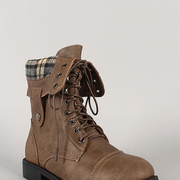 Pack-19 Plaid Cuff Military Lace Up Boot