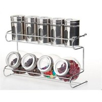 9 Canister Metal & Glass Spice Shakers Glass Jars 2 Tier Wire Rack Display Silve