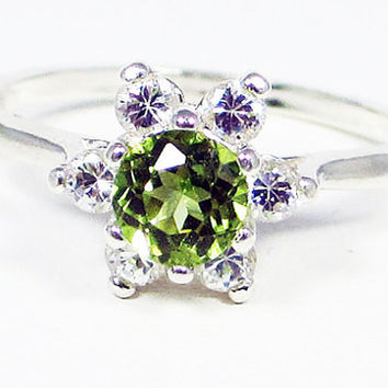 Peridot Halo Ring Sterling Silver, August Birthstone Ring, Sterling Silver Halo Ring, White CZ Halo Ring, Peridot Gemstone Ring