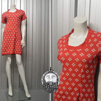 Vintage 60s Red Floral Print Knitted Mini Dress Knit Micro Dress Frilly Sleeves Scooter Dress 1960s Mini Dress Red and White Short Sleeve