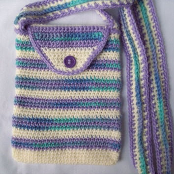 Crochet Purse, Small Striped Crochet Purse, Purple Stripe Crochet Purse, Cross Body Bag