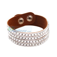 Unique Rhinestone Leather Bangle Bracelet at Cheap Fashion Jewelry Store Gofavor