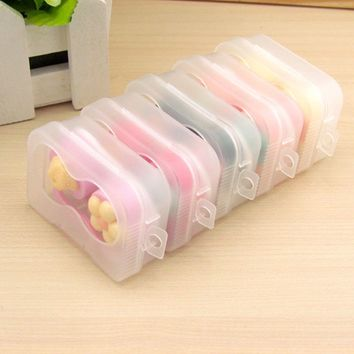 Practical Cartoon Cute plum Glasses double Contact Lenses Box Candy color Contact lens Case for Eyes Care Kit Holder