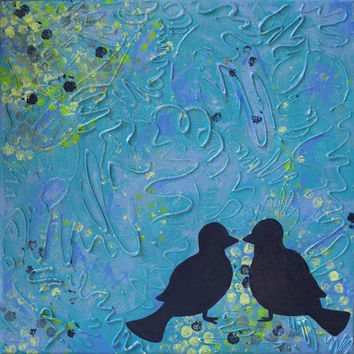 Multimedia Love Birds Art, Painting on Canvas