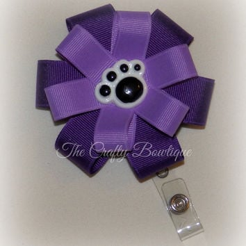 Paw Print Bow ~ Purple Hair Bow ~ Purple ID Holder Bow ~ Purple Paw Print Bow ~ Purple Hair Clip ~ Animal Print Bow ~ Round Layered Bow