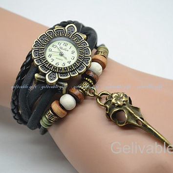 Steampunk wrist watch,Bird head bone skull charm bracelet watch,braided bracelet watch RWBS01