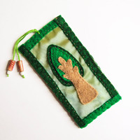 Felt tree bookmark, felt and satin-like, emerald green with beads