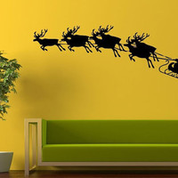 Wall Decor Vinyl Sticker Room Decal Art Noel Mary Christmas Holiday Santa Clous With Deers Ride 987
