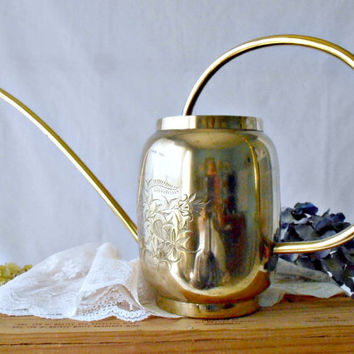 Vintage Brass Watering Can, Mid Century Etched Brass Asian Floral Design, Long Spout Indoor Gardening Can, House Plant Care, Garden Decor