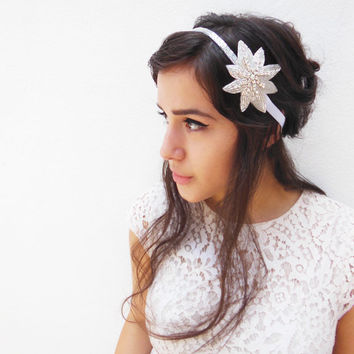Great Gatsby, Flapper Headband, Crystal Beaded Star Headband, Silver, Costume Head Piece, Fascinator