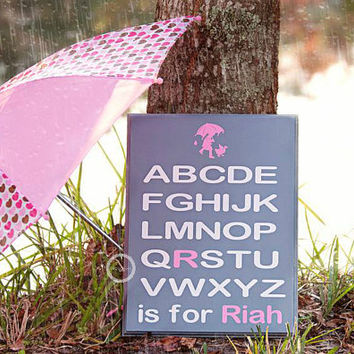 Alphabet Sign, Nursery Decor, ABC Sign,  Alphabet Art, Wood Sign, Hand Painted Sign, wall decor, personalized nursery gift personalized gift
