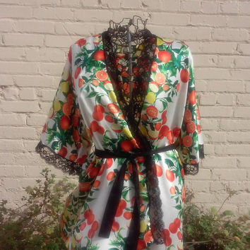 Citrus Silk Short Robe - Lemons and Oranges - Yellow, Orange, White, and Green Print Faux Kimono Dressing Robe with Black Belt and Lace Trim