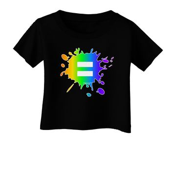 Equal Rainbow Paint Splatter Infant T-Shirt Dark by TooLoud