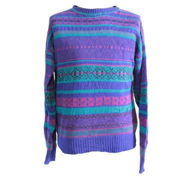 Purple Vintage Oversize Sweater Pink Teal Ralph Lauren Chaps Sweater Size Small