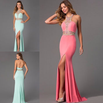 Sexy Mermaid Long Prom Dresses 2015 Vestido De Festa Curto Split Side Mint Green Backless Party Dress For Prom Robe De Soiree