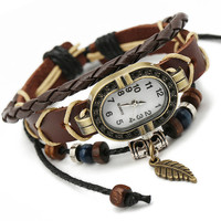 Ethnic Leaf Leather Bracelet Watch