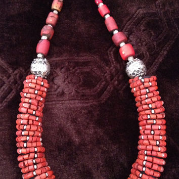 Old Berber Coral Beads with Enamel, Eggbeads, Silver & Coral Moroccan Sahara