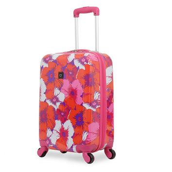 French West Indies Luggage, 19.5-inch Hardside Spinner Carry-On (Pop Flower Purple)