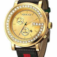 GUCCI Fashion Classic Women Men Personality Quartz Stripe Diamond Watches Wrist Watch I