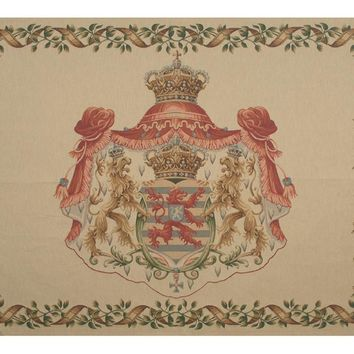 Lion Crest Beige Large European Tapestry