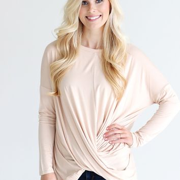 Hazelnut PIKO Long Sleeve Twist Top