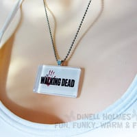 CLEARANCE SALE The Walking Dead Glass Tile Pendant Handmade Jewelry