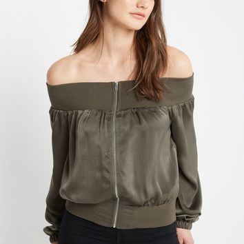 Ritter Satin Off the Shoulder Top