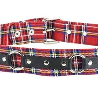 "Red & Black Plaid w/ O Ring Strap Leather Belt 1-3/4"" Wide"