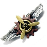 STEAMPUNK PIN Brooch Industrial Propeller Gears & Wings Airship Aviator Crew Badge Medal