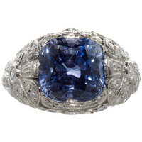 Beautiful French Ceylon Sapphire and Diamond Ring