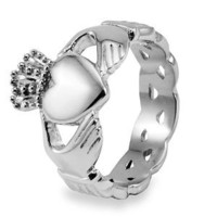 Stainless Steel Claddagh with Celtic Knot Eternity Design Ring (6 mm) - Size 6.0