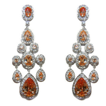 Ariana Champagne Sassy Statement Chandelier Earrings | Cubic Zirconia | Silver
