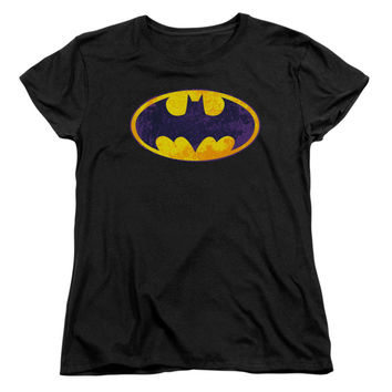Batman  Bm Neon Distress Logo Girls Jr Black Rockabilia