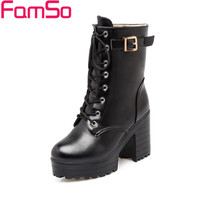 Plus Size34-43 2016 New women boots Autumn platforms Riding Boots High Thick heels Ankle Boots Winter Warm Snow Boots SBT2017