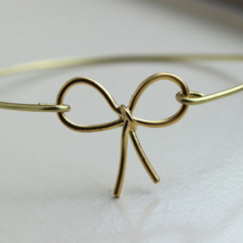 Gold Bow Bangle Bracelet Gold Ribbon Bow Bangle - Stackable Bangle Charm Bracelet - Bridesmaid Gift - Gift under 15 - Gold Bow Jewelry