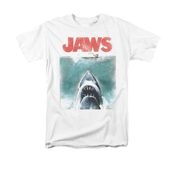 Jaws Movie Vintage Poster men Adult T Shirt Short sleeve shark printed cool tshirt