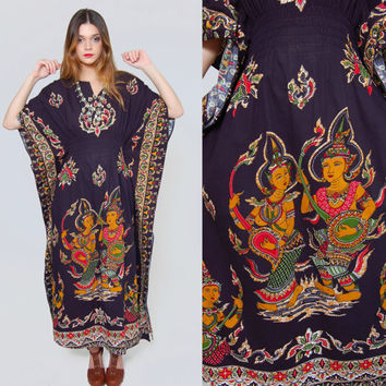 Vintage BATIK Caftan THAI Goddess Ethnic Cotton Maxi Dress Boho Caftan Hippie Maxi Dress