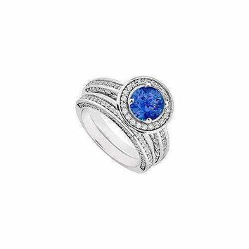 14K White Gold Blue Sapphire & Diamond Engagement Ring with Wedding Band Sets 1.55 CT TGW