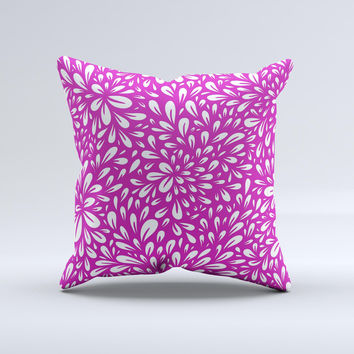Hot Pink & White Floral Sprout Ink-Fuzed Decorative Throw Pillow