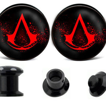 Assassins creed ear plugs ,vintage ear gauges ,acrylic ear plugs,wedding plugs,ear plugs body jewelry