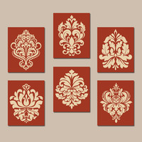 KITCHEN Wall Art, CANVAS or Prints, Orange Bedroom Pictures, Bathroom Artwork, Terra Cotta DAMASK Wall Art, Set of 6 Home Decor Choose Color