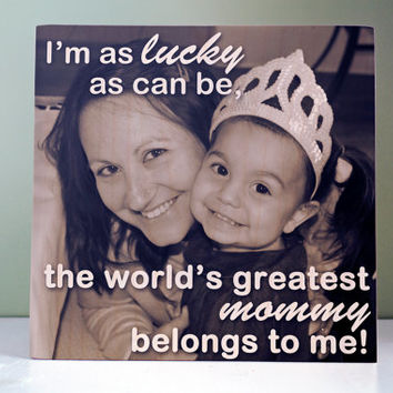 Mothers Day Photo Gift: Mom Mommy Custom Personalized Photo Wood Block, wood block print Home Decor, Greatest mom, Gift from Kids, birthday