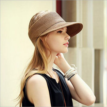 2017 Empty top Snapback Hat For Women Fashion Straw Summer Cap Casual Sun Hats Outdoor Foldable Baseball Cap HT51180