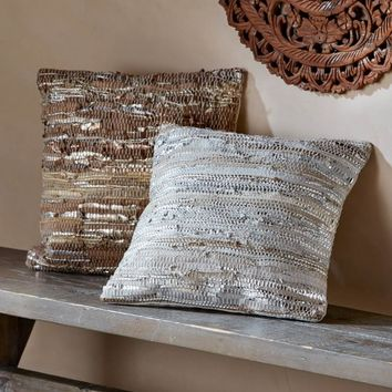Scrap Leather Throw Pillow Collection | VivaTerra